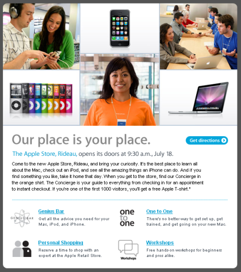 Email from Apple re Apple Store Ottawa